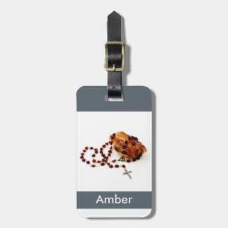 Amber stone with rosary luggage tag