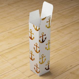 Amber texture anchors pattern wine bottle box