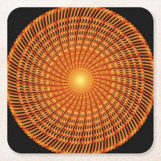 Amber Vortex Mandala Square Paper Coaster