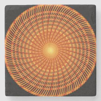 Amber Vortex Mandala Stone Coaster