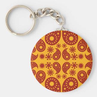Amber Yellow and Dark Red Paisley. Key Chain