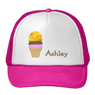 Amber Yellow Camo; Ice Cream Cone Trucker Hat