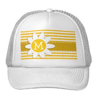 Amber Yellow Stripes; Daisy Trucker Hat
