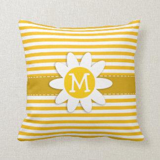 Amber Yellow Stripes; Daisy Cushion