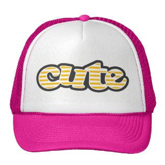 Amber Yellow Stripes; Striped Trucker Hat