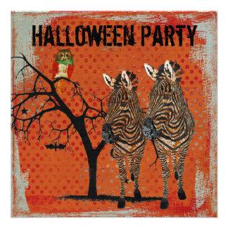 Amber Zebras Rose Owl Halloween Invitation