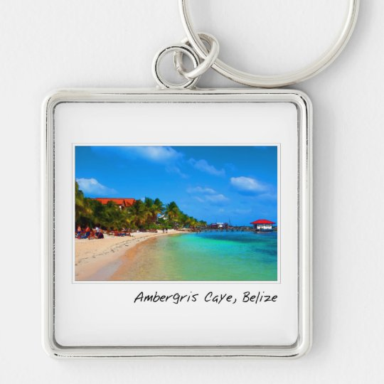 Ambergris Caye San Pedro Belise Silver-Colored Square Key Ring