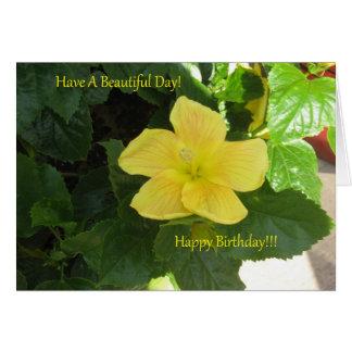 Ambers Yellow Hibiscus Birthday Card