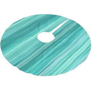 Ambient #5 Teal, original modern stripped pattern Brushed Polyester Tree Skirt