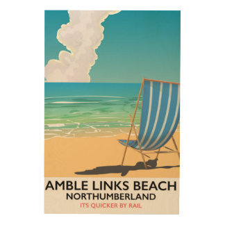 Amble Links Beach Northumberland Travel poster