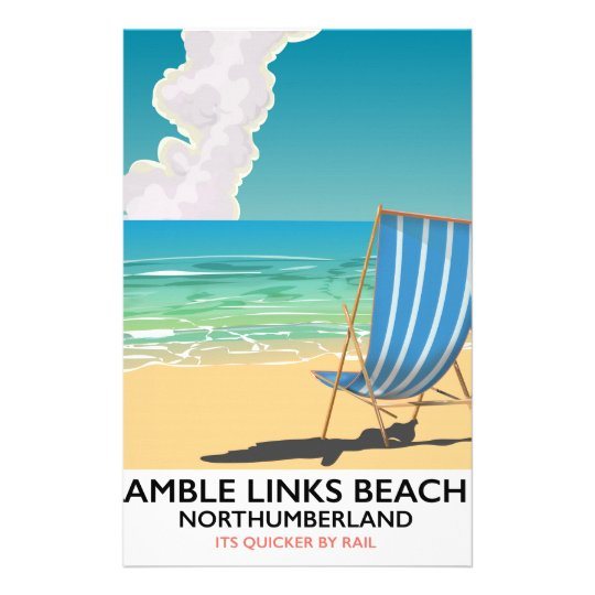 Amble Links Beach Northumberland Travel poster Stationery