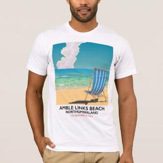 Amble Links Beach Northumberland Travel poster T-Shirt