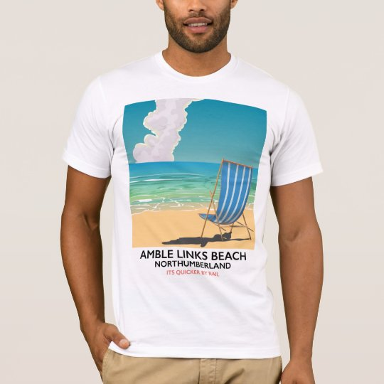 Amble Links Beach Northumberland Travel poster T-Shirt