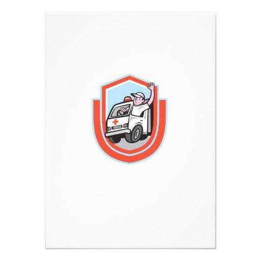 Ambulance Emergency Vehicle Driver Waving Shield C Personalized Invitation