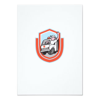 Ambulance Emergency Vehicle Driver Waving Shield C 11 Cm X 16 Cm Invitation Card