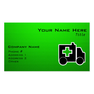 Ambulance; Green Business Card Templates