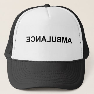 Ambulance mirror text trucker hat