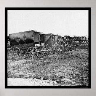 Ambulance Wagons and Drivers 1863 Poster