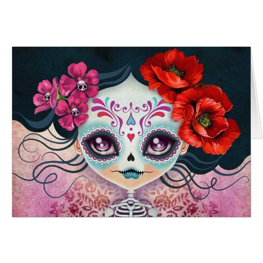 Amelia Calavera Sugar Skull Greeting Card