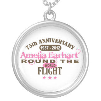 Amelia Earhart 75 Year Anniversary Round Pendant Necklace