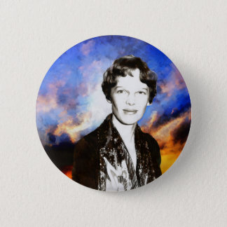 Amelia Earhart Artwork 6 Cm Round Badge