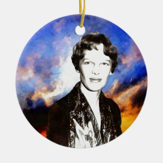 Amelia Earhart Artwork Christmas Ornament