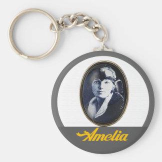 Amelia Earhart- Aviator Basic Round Button Key Ring