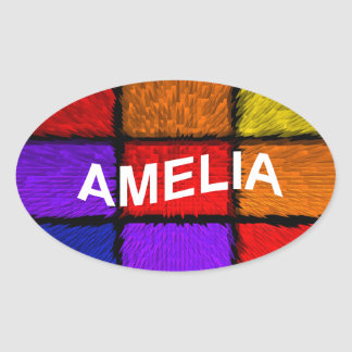 AMELIA ( female names ) Oval Sticker