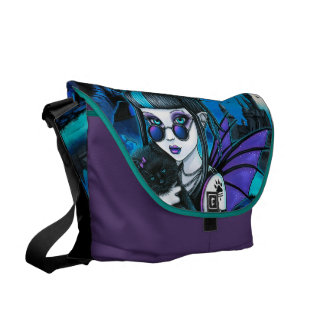 Amelia Gothic Vampire Werecat Castle Messenger Bag
