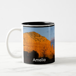 Amelia on Moonrise Glowing Red Rock Mug