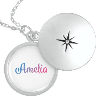 Amelia Stylish Cursive Locket Necklace