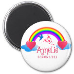 Amelie over the Rainbow Magnet 2 Inch Round Magnet