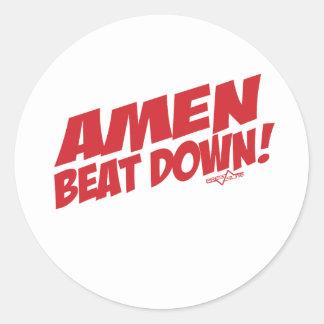 AMEN Beatdown R Round Sticker