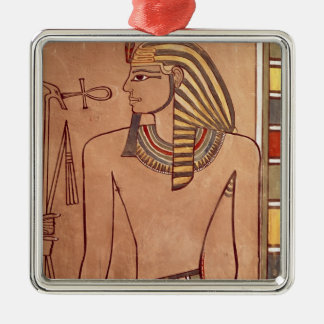 Amenhotep II  with an ankh raised to his lips Silver-Colored Square Decoration