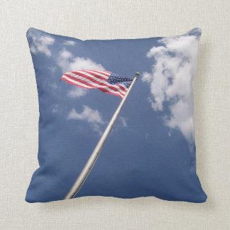 Amercan flag blue sky clouds cushion