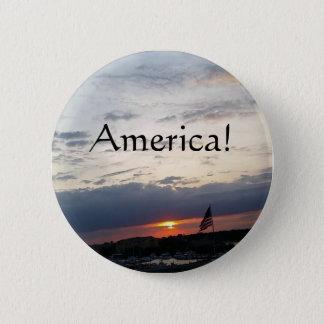 America!- American Flag Photo, Charleston SC 6 Cm Round Badge