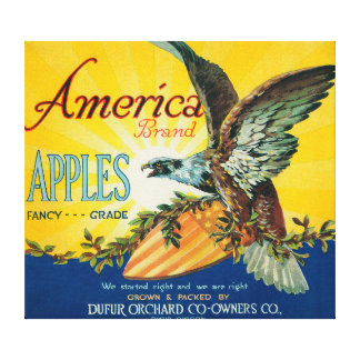 America Apple Crate LabelDufur, OR Canvas Print