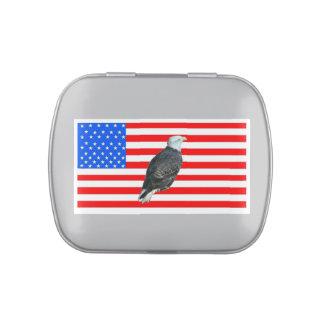 America Bald Eagle And American Flag Candy Tin