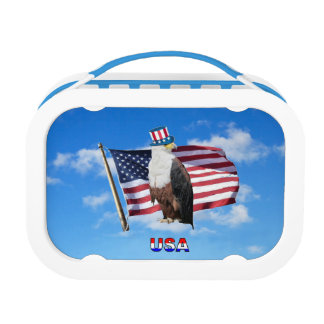 America Bald Eagle And Flag Lunch Box