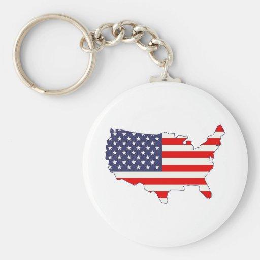 America Basic Round Button Key Ring