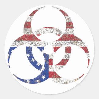 America Biohazard Warning Round Sticker