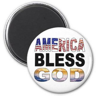 America Bless God 6 Cm Round Magnet