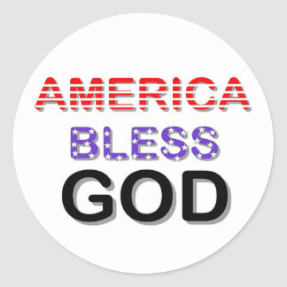 America Bless God Classic Round Sticker