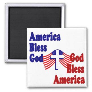 America Bless God...God Bless America Square Magnet