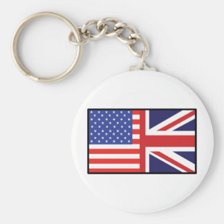 America Britain Basic Round Button Key Ring