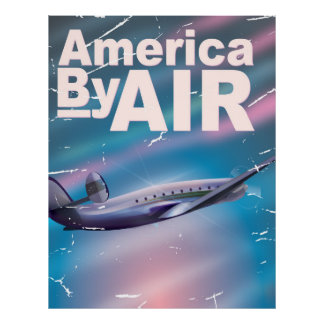 America By Air vintage travel poster