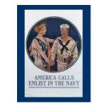 America Calls Enlist in the Navy Postcard