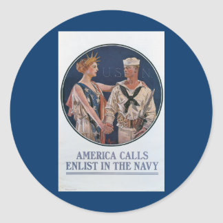 America Calls Enlist in the Navy Round Stickers