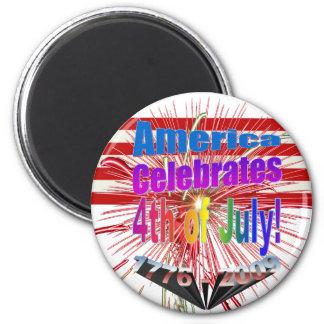 America Celebrates Flag Fireworks 4th of July 6 Cm Round Magnet