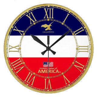 America Colours Gold Roman Numerals Modern Clock